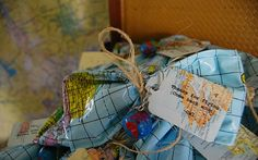 Party favors: (deflated) inflatable globes wrapped in twine, accented with a globe keychain.