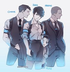 Detroit become human Connor, Kara, Markus and Alice By: - Android Art Gay, Geeks, Character Art, Character Design, Quantic Dream, Detroit Become Human Connor, All Meme, Becoming Human, I Like Dogs