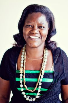 Soko Artisan Janet, wearing some of her beautiful west African inspired beadwork! #shopsoko #necklace #artisan #kenya #ethicalfashion