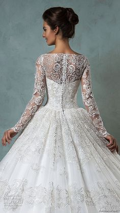 amelia sposa 2016 wedding dresses bateau neckline lace long sleeves beautiful ball gown wedding dress diana back closeup