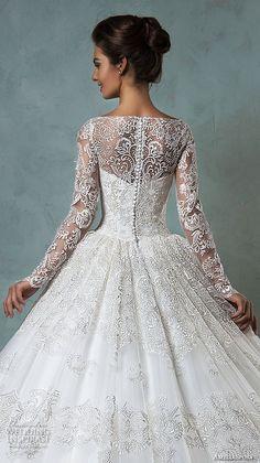 amelia sposa 2016 wedding dresses bateau neckline lace long sleeves beautiful ball gown wedding dress diana back closeup