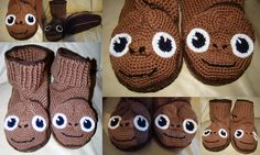 E.T character slippers.  Main pattern by deramores.  Finishing adaptions by NMCardcreations