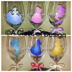 Excited to share the latest addition to my #etsy shop: Disney Figure Glittered Wine Glass #christmas #silhouette #handpainted #aglassofdesign #princesses #ariel