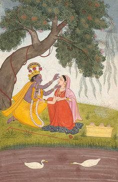 Krishna Adorns Radha with a Tilak Pichwai Paintings, Watercolor Paintings Abstract, Indian Art Paintings, Krishna Painting, Madhubani Painting, Lord Krishna Images, Krishna Pictures, Señor Krishna, Indian Traditional Paintings