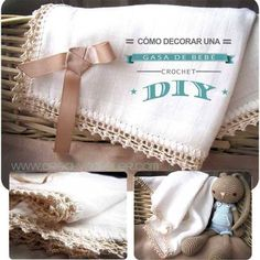 Tutorial DIY sobre como decorar una gasa de bebé con una puntilla de crochet paso a paso Loom Crochet, Crochet Home, Crochet Patterns, Crochet Edgings, Baby Embroidery, Beautiful Crochet, Baby Wearing, Baby Knitting, Baby Kids