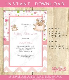 Instant Download Pink Little Lamb Baby Shower Invitations Editable Pdf DIY 5x7 Printable Baby Shower Invites AUTOFILL enabled by TppCardS #tppcards