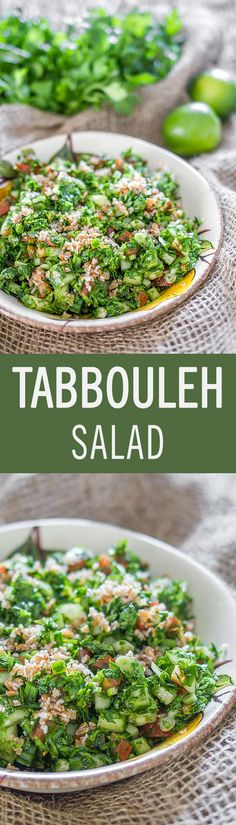 Fresh and healthy salad of Arabic origin made with parsley, tomatoes and bulgur, generously drizzled with a zesty mint, lime and olive oil dressing.