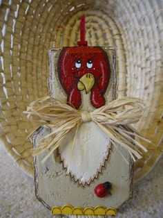 Rooster Patio Person Garden Art Outdoor by SunburstOutdoorDecor Painted Bricks Crafts, Brick Crafts, Painted Pavers, Stone Crafts, Thanksgiving Crafts, Fall Crafts, Holiday Crafts, Crafts To Make, Diy Crafts