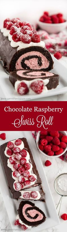 Raspberry Chocolate Swiss Roll Recipes With raspberry cream filling, chocolate ganache, whipped cream, and fresh berries, this Raspberry Chocolate Swiss Roll is sure to make your Valentine swoon. Raspberry Chocolate, Chocolate Desserts, Chocolate Ganache, Chocolate Cream, Raspberry Cake, Chocolate Filling, Cupcakes, Cupcake Cakes, Cake Cookies
