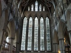 North Transept York Minster five sisters stained glass window St John's Chapel astronomical clock York Minster, Grisaille, Gothic Architecture, Stained Glass Windows, Cathedral, Building, Sisters, English, Patterns
