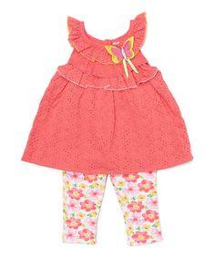 Look at this #zulilyfind! Pink Eyelet Yoke Top & Floral Capri Leggings - Infant & Toddler #zulilyfinds