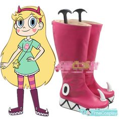 Star vs. the Forces of Evil Princess Star Butterfly Pink Boots Cosplay Shoe