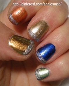 Day 19: Favourites. Thumb:Eye Candy: Sexy And You Know It, Nina UltraPro: Molten Gold, CG: Unpredicatable, Blue Bells Ring & Swanky Silk. Tips: Clor Club: Magic Attraction