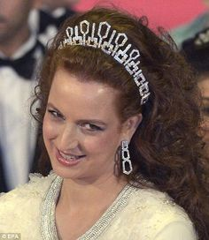 Queen's abdication party...Diamonds are a girl's best friend:  Princess Lalla Salma of Morocco wore a magnificent tiara to the event .