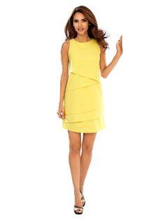 Tendance ananas : Robe jaune femme à volants fluide
