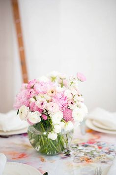Centerpieces, Table Decorations, Spring Blooms, Glass Vase, Pastel, Beautiful, Floral, Pink, Inspiration