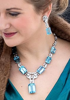 Hereditary Grand Duchess Stephanie's wearing a diamond and aquamarine necklace and earrings
