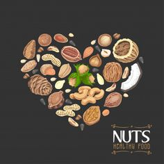 The isolated heart of nuts and seeds Premium Vector Food Backgrounds, Black Backgrounds, Traditional Italian Pizza, Pork Ribs Grilled, Chopped Steak, Pizza Menu, Fast Food Menu, Meat Shop, Restaurant Menu Template