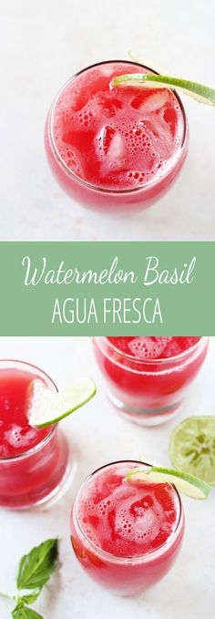 Easy and so refreshing, this watermelon basil agua fresca is perfect for summer! With just four ingredients (including water!). And no added sugar!
