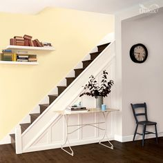 Find the best colour paint for your living room, bathroom, bedroom and more with Dulux paint. Find the right colour for you with our Dulux paint ideas. Hallway Paint Colors, Wall Colors, Hallway Decorating, Entryway Decor, Interior Decorating, Yellow Hallway, Yellow Paint Colors, Hallway Designs, Hallway Ideas