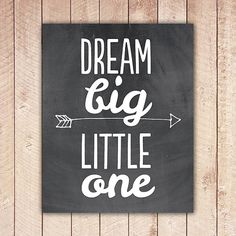Nursery Printable, Dream Big Little One, Nursery Art, Chalkboard Nursery Decor, Instant Download, Black and White DBLO