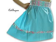 Vintage Apron, Turquoise Apron, Pink and Aqua Apron, Linen Apron, Embroidered Trim on Waist and Border, Retro Apron by CatBazaar on Etsy