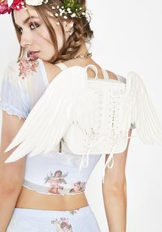 Free, fast shipping on Heavenly Creature Mini Backpack at Dolls Kill, an online boutique for kawaii fashion. Shop Sugar Thrillz clothing, shoes, & accessories here. White Party Attire, Fashion Angels, Cute Backpacks, Future Fashion, Kids Bags, Cute Bags, Mini Backpack, Kawaii Fashion, New Wardrobe