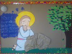 Cartelera para semana santa. Jesús en el huerto de Getsemaní