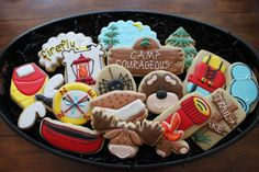 Items similar to 12 Camping Sugar Cookies, Boy Scout, Girl Scout, Decorated Cookies, Birthday Favors on Etsy Almond Sugar Cookies, Iced Cookies, Royal Icing Cookies, Yummy Cookies, Cake Cookies, Birthday Favors, Birthday Cupcakes, 5th Birthday, Birthday Ideas