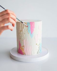36 Fall Wedding Cakes That WOW ❤ fall wedding cakes white decorated with pearls and hand painted yellow blue abstract soulcakeshop Pretty Cakes, Cute Cakes, Beautiful Cakes, Amazing Cakes, Fall Wedding Cakes, White Wedding Cakes, Painted Cakes, Drip Cakes, Piece Of Cakes