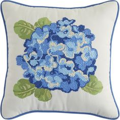 Springtime, naptime and just because—all perfect occasions for our hydrangea pillow. Blooming on a white field, this Asian floral is beautifully embroidered and features soft poly fiberfill, blue piping for contrast and UV-resistant fabric, so it can flower in the sun.