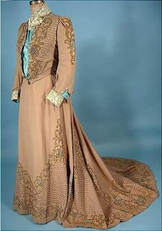 Circa 1903 Trained Taupe Wool Flannel Cut work 2-piece Tea Gown.