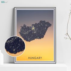 HUNGARY map - Hungary sunset map - Travel poster - Home Decor - Wall decor - Office map - Hungary gift - GGmap - Magyarország map Office Wall Decor, Wall Art Decor, New York City Map, Map Shop, Cologne Germany, Country Maps, Skyline Art, Custom Map, All Poster