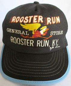 Vintage 1984 Rooster Run General Store Black Trucker Hat USA Snapback Mesh Poly #Unbranded #Trucker