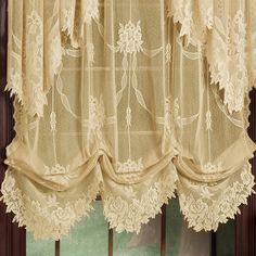 Add privacy to any room with the delicately beautiful Garland Lace Balloon Shade. Made of polyester, jacquard lace in a hand-cut floral leaf design. Elegant Curtains, Shabby Chic Curtains, Beautiful Curtains, Lace Curtains, Colorful Curtains, Lace Balloons, Balloon Curtains, Victorian Curtains, Victorian Windows