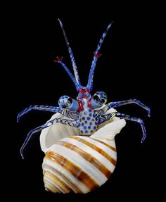 "Look who we found at the beach this weekend.  When Tim Jerman was a child, he couldn't decide whether to become a marine biologist or an artist. So he became an artist who created intricate glass sculptures of aquatic life.  This piece, ""Hermit Crab"" (2000), is in our @americanartmuseum."