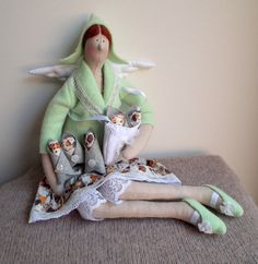 Fabric Doll Angel, Gift. Handmade textile Doll Brown dogs pattern skirt, green jacket andshoes, Cute rag doll, nice Christmas Gift for girl