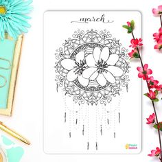 "Hello March Coloring Sticker • Monthly Bullet Journal Sticker • Mandala Coloring • Adult Coloring Page • A5 Filofax Sticker • 5"" x 7"" by WundertastischDesign on Etsy"