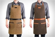 Rugged Man Aprons by Hardmill. Hardmill is a recent company in Seattle founded by two brothers, they create simple, traditional, and rugged products that will be passed on and cherished for years to come. Their first product is this manly Rugged Apron, handcrafted in the US from army duck waxed canvas and hand-dyed leather, this is definitely something every man should have.