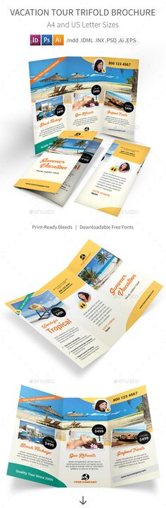 Vacation Tour Trifold Brochure Design Template - Informational Brochure Template PSD, InDesign INDD, Vector EPS, AI Illustrator. Download here: https://graphicriver.net/item/vacation-tour-trifold-brochure/16933106?s_rank=68&ref=yinkira