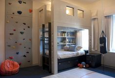 A Super Sporty Shared Space On The East Side   Apartment Therapy, climbing wall, ladder to second space/bunkbed, bag been