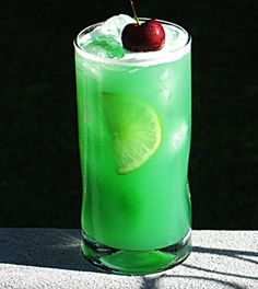 Velvet Cactus   (2 oz. DeKuyper Cactus Juice 1 oz. Vodka  .75 oz. Blue Curacao 2 oz. Orange Juice 2 oz. Pineapple Juice 1 oz. Sweet & Sour Cherry to garnish 2 Lime slices)