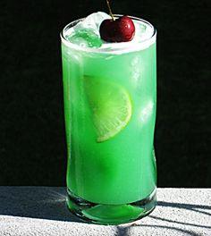 Velvet Cactus  (2 oz. DeKuyper Cactus Juice 1 oz. Vodka  .75 oz. Blue Curacao 2 oz. Orange Juice 2 oz. Pineapple Juice 1 oz. Sweet & Sour Cherry to garnish 2 Lime slices)