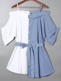 SHARE & Get it FREE | Off The Shoulder Pinstripe Blouse - Blue SFor Fashion Lovers only:80,000+ Items • New Arrivals Daily Join Zaful: Get YOUR $50 NOW!