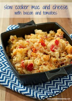 Slow cooker mac and cheese with bacon and tomatoes -- from the Yankee Kitchen Ninja