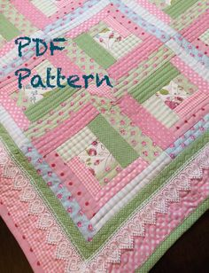 Chic Baby Girl Quilt Pattern Log Cabin Quilt Pattern Modern