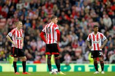 (L-R) Sebastian Larsson, Connor Wickham and Liam Bridcutt during the Barclays Premier League match between Sunderland and Swansea City at St...