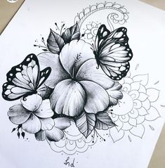 I want this on my back shoulder blade Tropical Flower Tattoos, Butterfly With Flowers Tattoo, Butterfly Hand Tattoo, Lily Flower Tattoos, Floral Thigh Tattoos, Cute Foot Tattoos, Dope Tattoos, Finger Tattoos, Unique Tattoos
