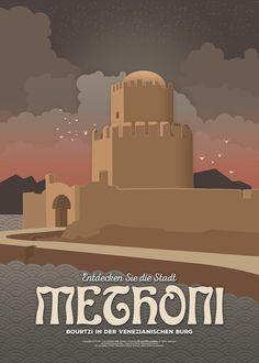 The Venetian castle of Methoni (Greece). Vintage Illustration Travel Posters / FNK