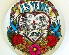 "Custom Anniversary Plate 14"" Hand Painted Day of the Dead Folk Art Flowers Birds Swallows Dia De Los Muertos Wedding Rings Date Names"